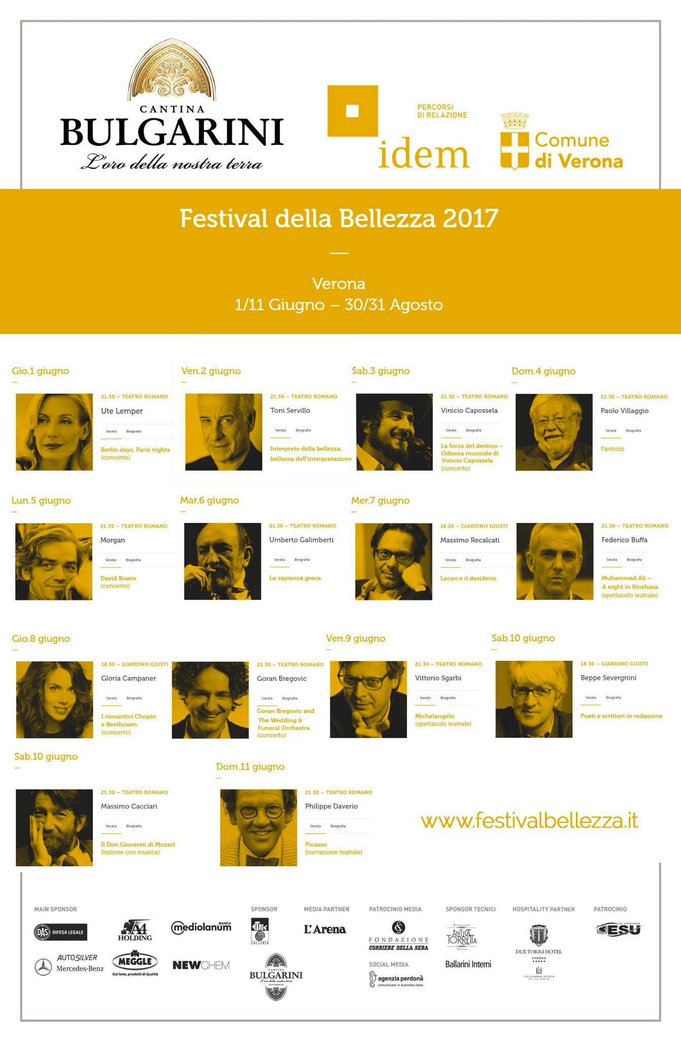 Calendario Festival della Bellezza 2017